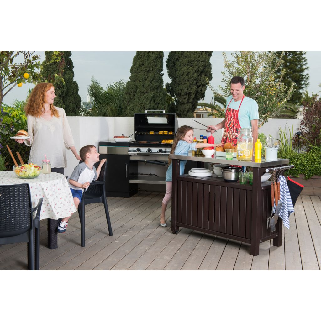 MUEBLE PARA BBQ UNITY XL COLOR MARRON KETER